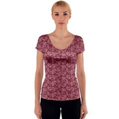 Roses pattern Women s V-Neck Cap Sleeve Top