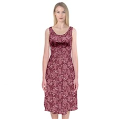 Roses pattern Midi Sleeveless Dress