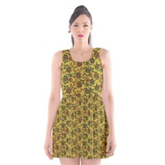 Roses pattern Scoop Neck Skater Dress