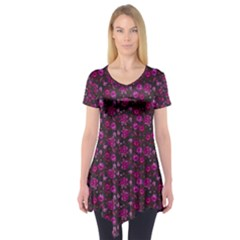 Roses pattern Short Sleeve Tunic