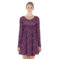 Roses pattern Long Sleeve Velvet V-neck Dress