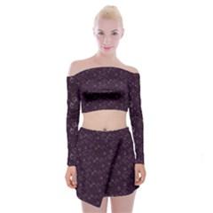 Roses pattern Off Shoulder Top with Skirt Set