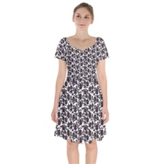 Roses pattern Short Sleeve Bardot Dress