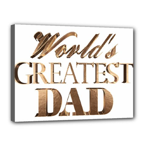 World s Greatest Dad Gold Look Text Elegant Typography Canvas 16  x 12