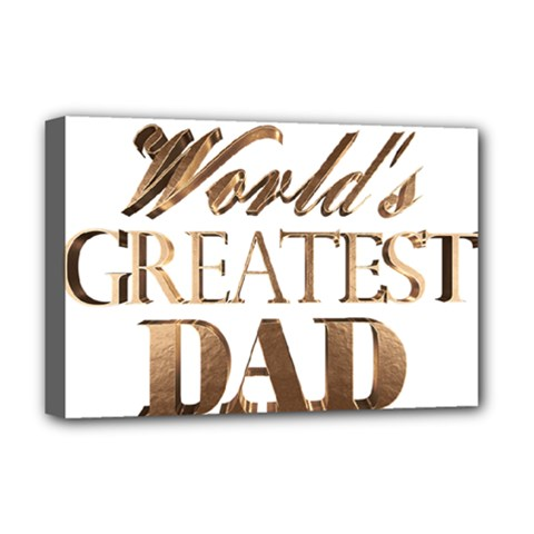 World s Greatest Dad Gold Look Text Elegant Typography Deluxe Canvas 18  x 12