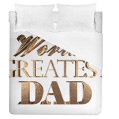 World s Greatest Dad Gold Look Text Elegant Typography Duvet Cover (Queen Size)