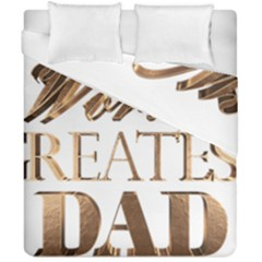 World s Greatest Dad Gold Look Text Elegant Typography Duvet Cover Double Side (California King Size)