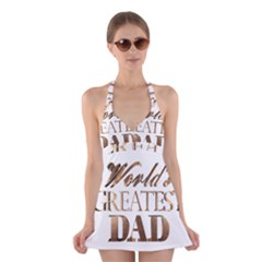 World s Greatest Dad Gold Look Text Elegant Typography Halter Swimsuit Dress