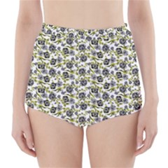 Roses pattern High-Waisted Bikini Bottoms