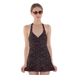 Roses pattern Halter Swimsuit Dress