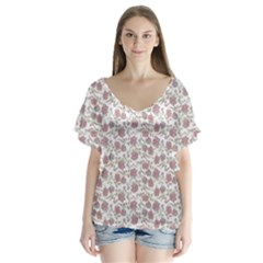 Roses pattern Flutter Sleeve Top