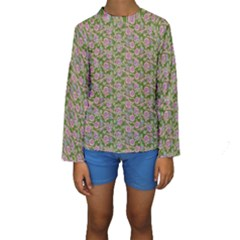 Roses pattern Kids  Long Sleeve Swimwear