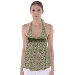 Roses pattern Babydoll Tankini Top