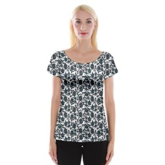 Roses pattern Women s Cap Sleeve Top