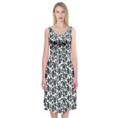 Roses pattern Midi Sleeveless Dress