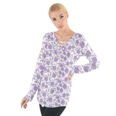 Roses pattern Women s Tie Up Tee