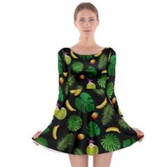 Tropical pattern Long Sleeve Skater Dress