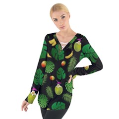 Tropical pattern Women s Tie Up Tee