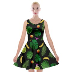 Tropical pattern Velvet Skater Dress