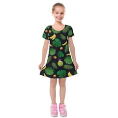 Tropical pattern Kids  Short Sleeve Velvet Dress