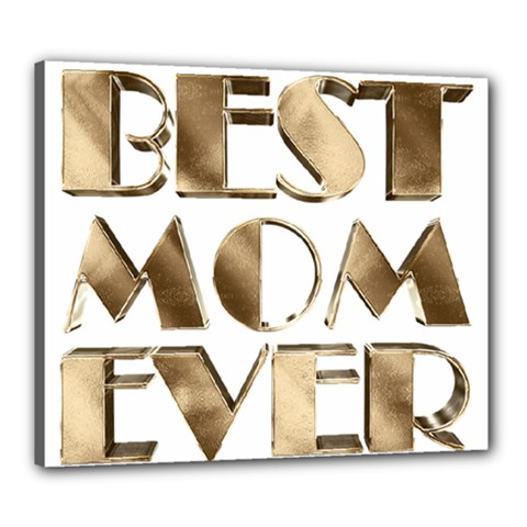 Best Mom Ever Gold Look Elegant Typography Canvas 24  x 20