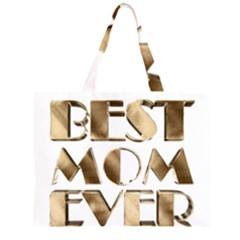 Best Mom Ever Gold Look Elegant Typography Zipper Large Tote Bag