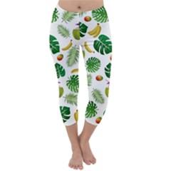Tropical pattern Capri Winter Leggings