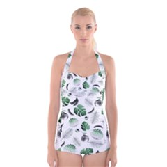 Tropical pattern Boyleg Halter Swimsuit