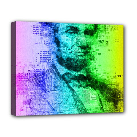 Abraham Lincoln Portrait Rainbow Colors Typography Deluxe Canvas 20  x 16