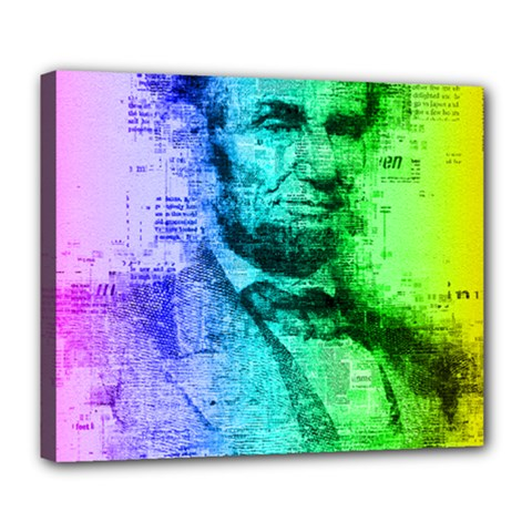 Abraham Lincoln Portrait Rainbow Colors Typography Deluxe Canvas 24  x 20