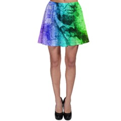 Abraham Lincoln Portrait Rainbow Colors Typography Skater Skirt