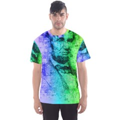 Abraham Lincoln Portrait Rainbow Colors Typography Men s Sport Mesh Tee
