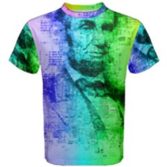 Abraham Lincoln Portrait Rainbow Colors Typography Men s Cotton Tee
