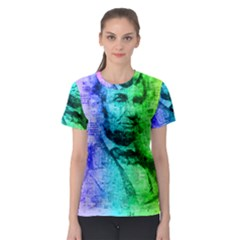 Abraham Lincoln Portrait Rainbow Colors Typography Women s Sport Mesh Tee