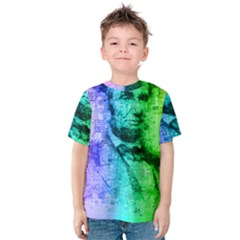 Abraham Lincoln Portrait Rainbow Colors Typography Kids  Cotton Tee