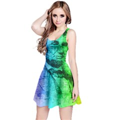 Abraham Lincoln Portrait Rainbow Colors Typography Reversible Sleeveless Dress