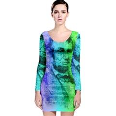Abraham Lincoln Portrait Rainbow Colors Typography Long Sleeve Bodycon Dress