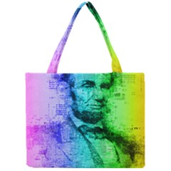 Abraham Lincoln Portrait Rainbow Colors Typography Mini Tote Bag