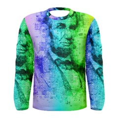 Abraham Lincoln Portrait Rainbow Colors Typography Men s Long Sleeve Tee