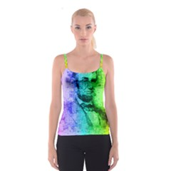 Abraham Lincoln Portrait Rainbow Colors Typography Spaghetti Strap Top