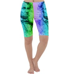 Abraham Lincoln Portrait Rainbow Colors Typography Cropped Leggings