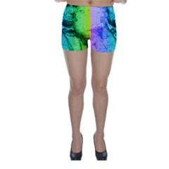 Abraham Lincoln Portrait Rainbow Colors Typography Skinny Shorts