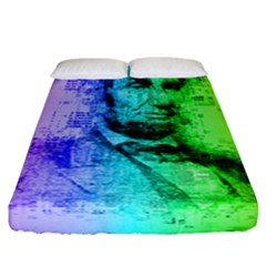 Abraham Lincoln Portrait Rainbow Colors Typography Fitted Sheet (California King Size)