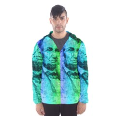 Abraham Lincoln Portrait Rainbow Colors Typography Hooded Wind Breaker (Men)