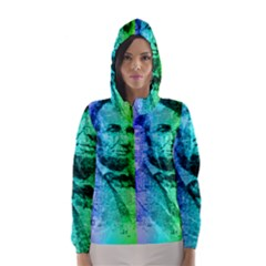 Abraham Lincoln Portrait Rainbow Colors Typography Hooded Wind Breaker (Women)