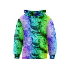 Abraham Lincoln Portrait Rainbow Colors Typography Kids  Pullover Hoodie