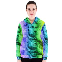 Abraham Lincoln Portrait Rainbow Colors Typography Women s Zipper Hoodie