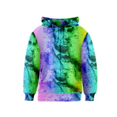 Abraham Lincoln Portrait Rainbow Colors Typography Kids  Zipper Hoodie