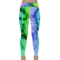 Abraham Lincoln Portrait Rainbow Colors Typography Classic Yoga Leggings