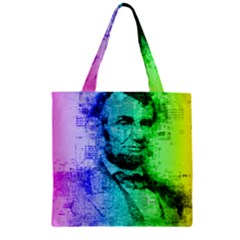 Abraham Lincoln Portrait Rainbow Colors Typography Zipper Grocery Tote Bag